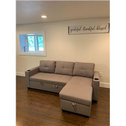 """BRAND NEW PULL OUT SOFA BED RETAIL $1199 GREY FABRIC W/ STORAGE  83"""" X 52"""", NEW IN BOX"""