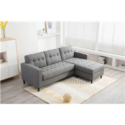 BRAND NEW GREY COTTEN LINEN TUFTED REVERSIBLE SECTIONAL SOFA - RETAIL $899, NEW IN BOX