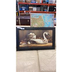 FRAMED DUCK PRINT AND MAYAN MAP ON BOARD