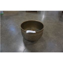 BRASS FOOTED BOWL APPROX 12 INCHES ACROSS 8 1/2 TALL