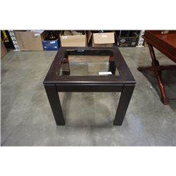 Glass insert bevelled glass end table