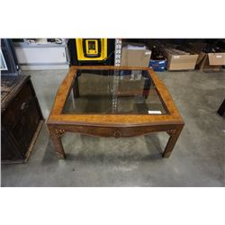 Glass insert rectangle coffee table