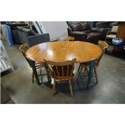 MAPLE AND GREEN DINING TABLE WITH LEAF AND 4 CHAIRS