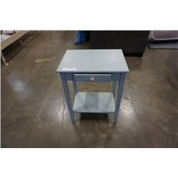 BLUE PAINTED 1 DRAWER STAND