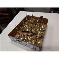 Box of brass candle holders