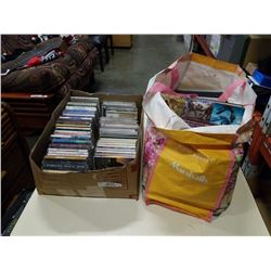 BOX AND BAG OF CDS AND BOOKS
