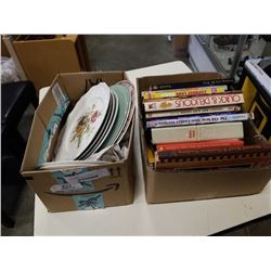 2 BOXES OF CHINA PLATES AND COOKBOOKS