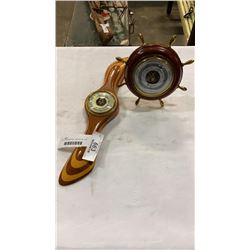 2 WOOD BAROMETERS - PROPELLER AND SHIP WHEEL STYLE
