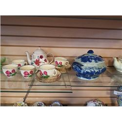 STAFFORDSHIRE CUPS AND SAUCERS AND SADLER TEAPOT AND FLOW BLUE LIDDED TUREEN