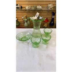 5 PICES URANIUM GLASS 8 INCH TALL VASE AND 4 BOWLS