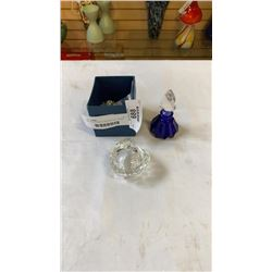 CRYSTAL PENDENT DECORATION, LIDDED HEART DISH AND PERFUME BOTTLE