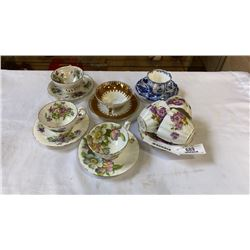 8 CUPS AND SAUCERS - INCLUDES AYNSLEY, CROWN DERBY AND BAVARIA