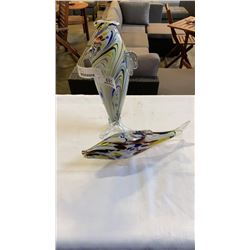 2 ART GLASS FISH VASES