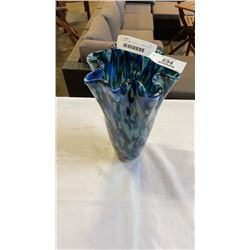 ART GLASS VASE 10 IN TALL - END OF DAY STYLE