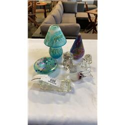 ART GLASS FIGURES AND ART GLASS TEALIGHT LAMP AND ART GLASS OIL LAMPS