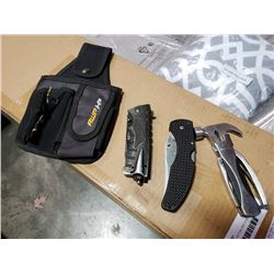 Multi tool, survival knife, folding knife and pouch