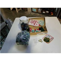 1960s BOYSCOUT CARD, PATCHES AND JAR OF MARBLES