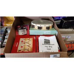Box of martini glasses, c700 tamborine, slow cooker and more