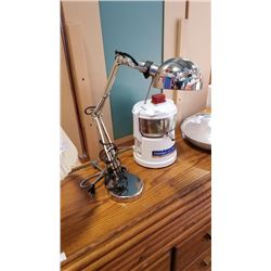 Weight base spring loaded adjustable lamp with inline switch