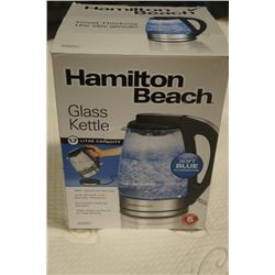 AS NEW HAMILTON BEACH GLASS ELECTRIC KETTLE 1.7 LITRE - WORKING