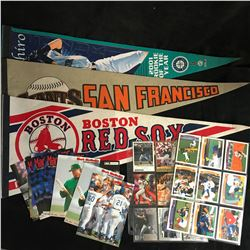 BASEBALL PENNANTS/ CARDS LOT