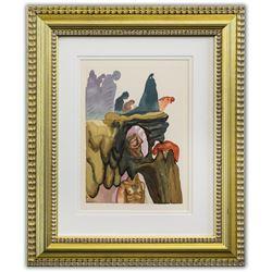 "Salvador Dali- Original Color Woodcut on B.F.K. Rives Paper ""Inferno 22"""