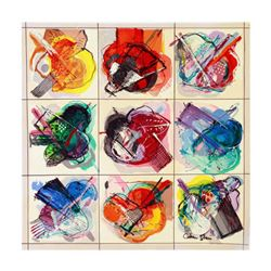 """Calman Shemi, """"Flowers Kaleidoscope"""" Limited Edition Serigraph, Numbered and Hand Signed with Letter"""