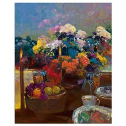 """Ming Feng, """"Candlelight Dinner"""" Limited Edition on Canvas, Numbered and Hand Signed with Letter of A"""