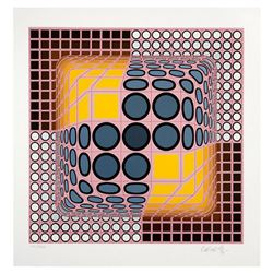 "Victor Vasarely (1908-1997), ""Pink Composition"" Hand Signed Limited Edition Serigraph with Letter of"