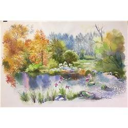 "Zina Roitman- Original Watercolor ""Lake in Autumn"""