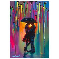 "Jim Warren, ""Love Protects"" Hand Signed, Artist Embellished AP Limited Edition Giclee on Canvas with"