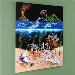 """Sand Bar 2"" Mural Limited Edition Hand-Embellished Giclee on Canvas (42"" x 53"") by Michael Godard,"