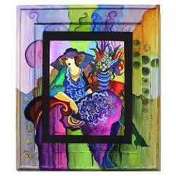 "Patricia Govezensky- Original Watercolor with Hand Painted Frame ""Analia"""