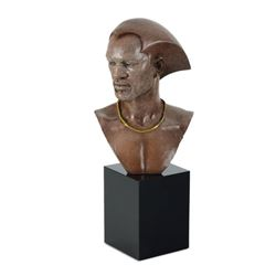 "Thomas Blackshear, ""Remembering"" Limited Edition Mixed Media Sculpture on Marble Base, Numbered with"