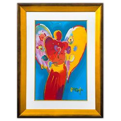 "Peter Max- Original Mixed Media ""Angel with Heart"""