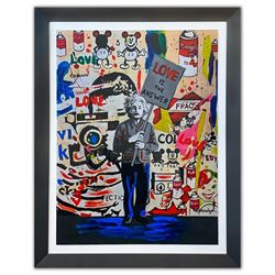 "Nastya Rovenskaya- Original Mixed Media on Paper ""Einstein's Placard"""