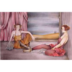 "Haya Ran- Original Serigraph ""Behind the Curtain"""