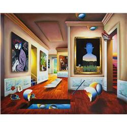 "Ferjo ""INTERIOR WITH MAGRITTE"" Giclee on Canvas"