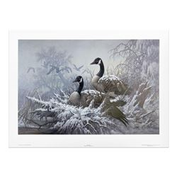 "Larry Fanning (1938-2014), ""April Snow - Canada Geese"" Limited Edition Lithograph, Numbered and Hand"
