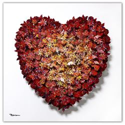 "Patricia Govezensky- Original 3D Metal Art on Wood ""Heart"""