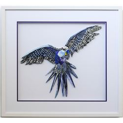 "Patricia Govezensky- Original Painting on Laser Cut Steel ""Macaw XVI"""