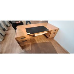 MAPLE COLOURED 3' X 6 ' PEDISTAL OFFICE DESK COMES WITH SMALL NIGHT STAND/COFFEE TABLE