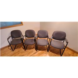 FOUR GREY OFFICE/WAITING CHAIRS