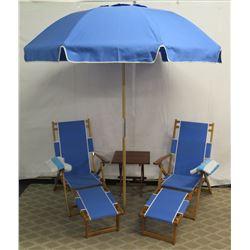 Qty 2 Folding Beach Lounge Chairs w/ Blue Canvas, Beach Umbrella & Side Table