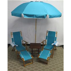 Qty 2 Folding Beach Lounge Chairs w/ Aqua Canvas, Beach Umbrella & Side Table
