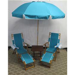 Qty 2 Folding Beach Lounge Chairs w/ Aqua Canvas, Beach Umbrella & Side Table