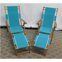 Qty 2 Folding Beach Lounge Chairs w/ Aqua Canvas