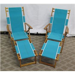 Qty 2 Folding Beach Lounge Chairs w/ Aqua Canvas