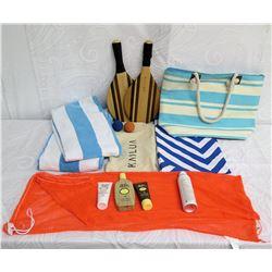 Beach Lot: 2 Towels, Striped Tote Bag, 2 Paddles, Lotion & Orange Mesh Bag