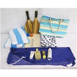 Beach Lot: 2 Towels, Striped Tote Bag, 2 Paddles, Lotion & Blue Mesh Bag